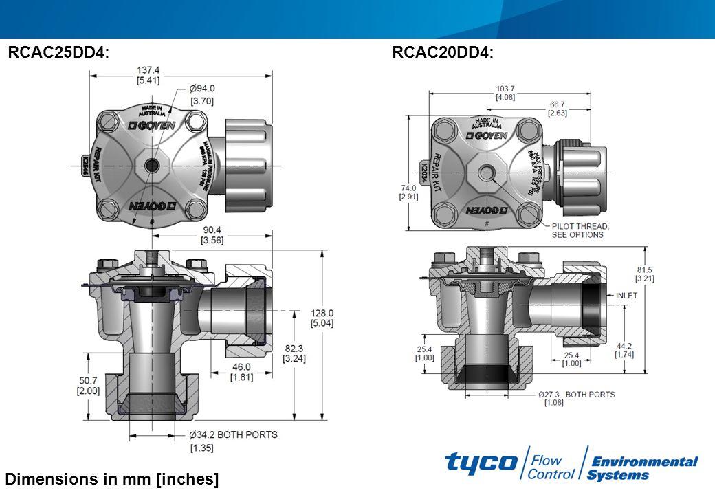 Dimensions in mm [inches] RCAC25DD4:RCAC20DD4: