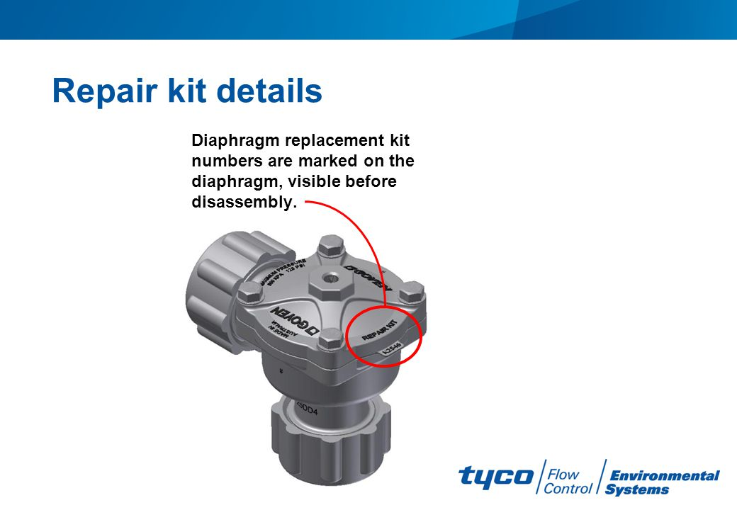 Repair kit details Diaphragm replacement kit numbers are marked on the diaphragm, visible before disassembly.