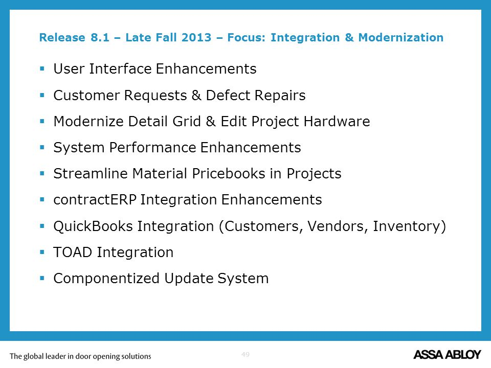 49 Release 8.1 – Late Fall 2013 – Focus: Integration & Modernization User Interface Enhancements Customer Requests & Defect Repairs Modernize Detail G