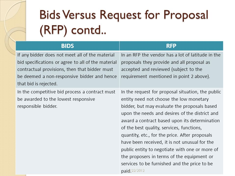 Bids Versus Request for Proposal (RFP) contd.. BIDSRFP If any bidder does not meet all of the material bid specifications or agree to all of the mater