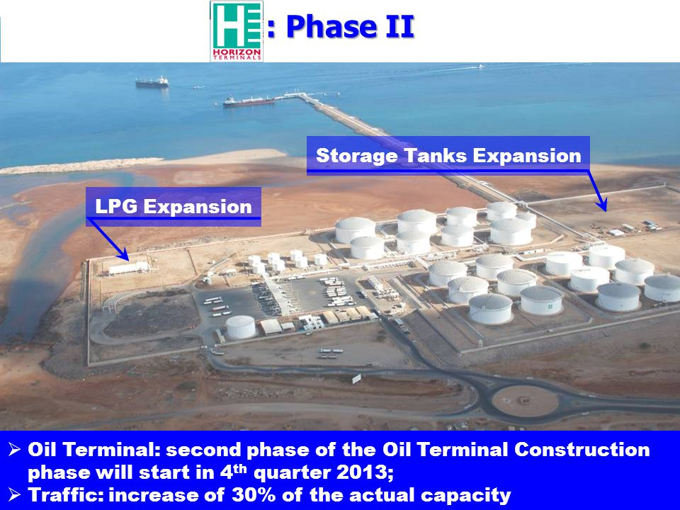 Oil Terminal: second phase of the Oil Terminal Construction phase will start in 4 th quarter 2013; Traffic: increase of 30% of the actual capacity LPG