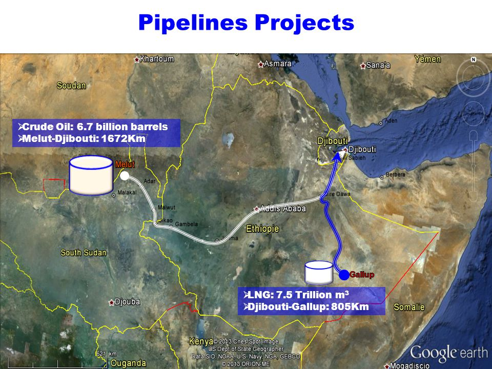 Crude Oil: 6.7 billion barrels Melut-Djibouti: 1672Km Pipelines Projects LNG: 7.5 Trillion m 3 Djibouti-Gallup: 805Km