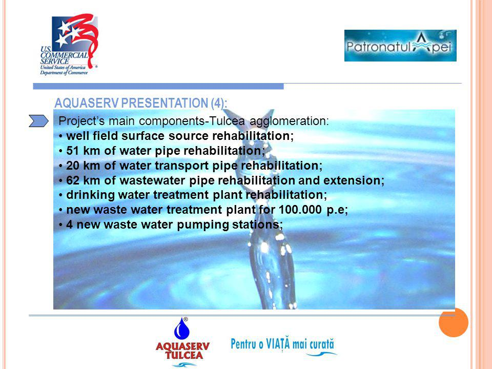 6 AQUASERV PRESENTATION (4): Projects main components-Tulcea agglomeration: well field surface source rehabilitation; 51 km of water pipe rehabilitati