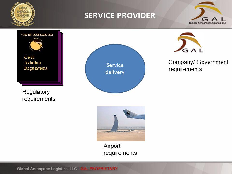 Civil Aviation Regulations UNITED ARAB EMIRATES Regulatory requirements Company/ Government requirements Airport requirements Service delivery