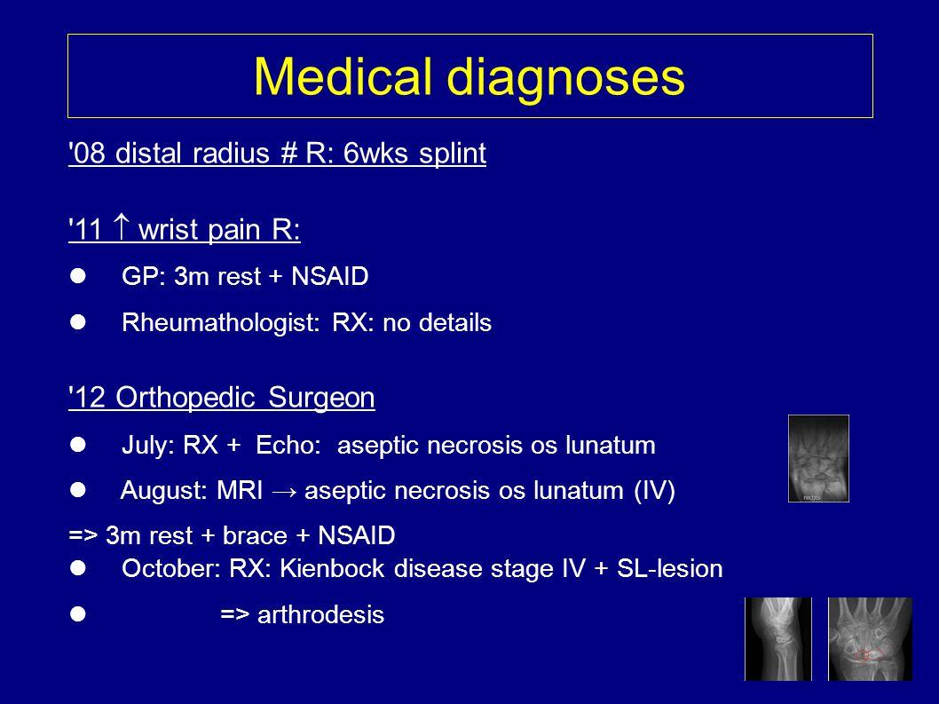 Medical diagnoses '08 distal radius # R: 6wks splint '11 wrist pain R: GP: 3m rest + NSAID Rheumathologist: RX: no details '12 Orthopedic Surgeon July