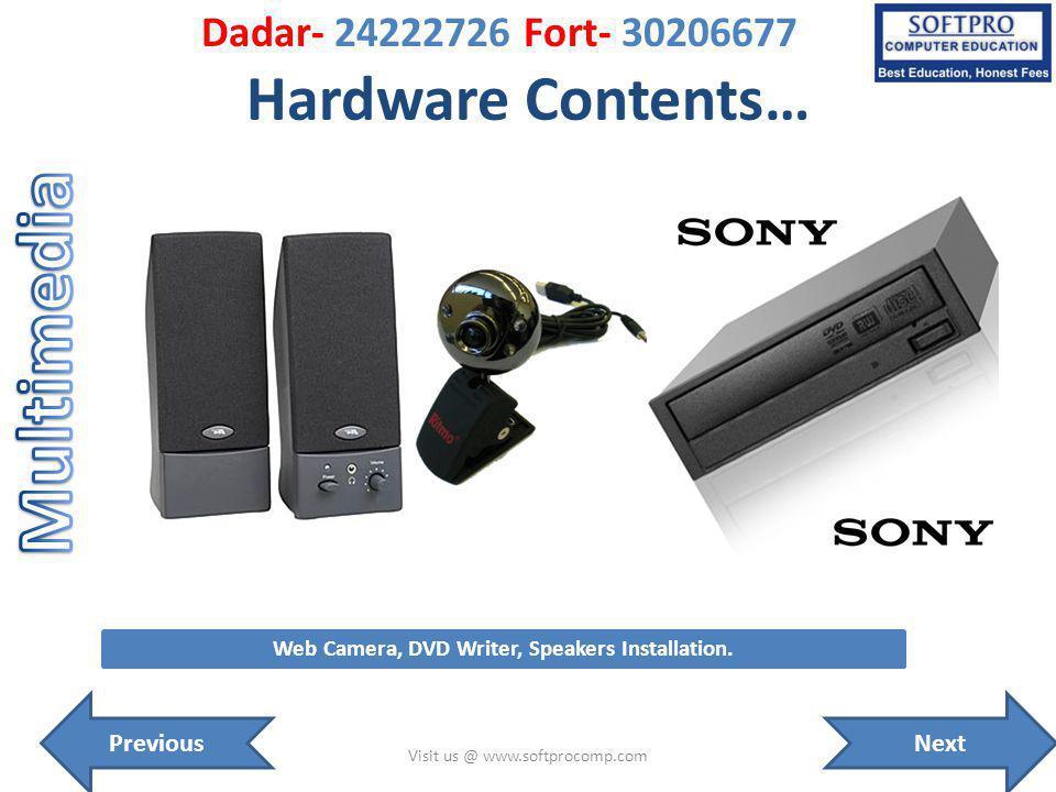 Hardware Contents… Visit us @ www.softprocomp.com Web Camera, DVD Writer, Speakers Installation.