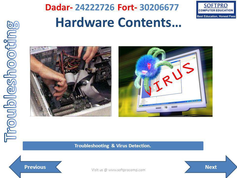 Hardware Contents… Visit us @ www.softprocomp.com Troubleshooting & Virus Detection. NextPrevious Dadar- 24222726 Fort- 30206677