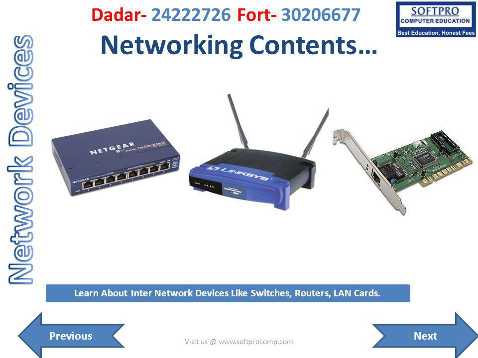 Networking Contents… Visit us @ www.softprocomp.com Learn About Inter Network Devices Like Switches, Routers, LAN Cards.
