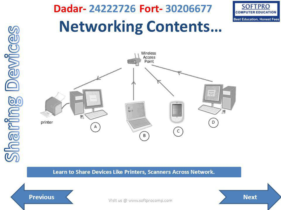 Networking Contents… Visit us @ www.softprocomp.com Learn to Share Devices Like Printers, Scanners Across Network.