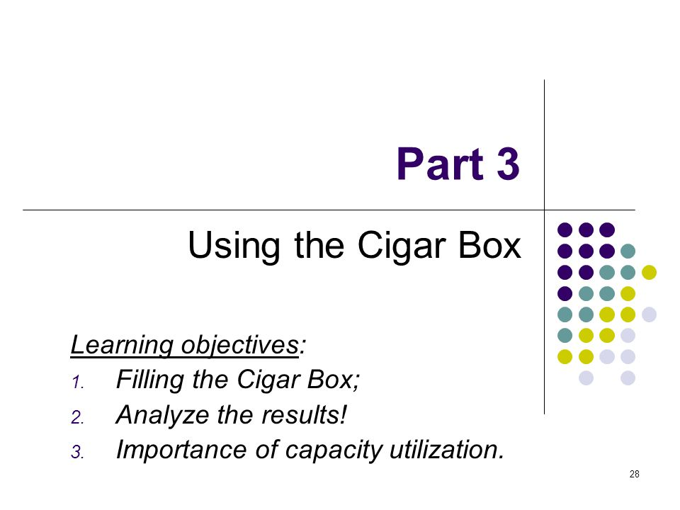 28 Part 3 Using the Cigar Box Learning objectives: 1. Filling the Cigar Box; 2. Analyze the results! 3. Importance of capacity utilization.