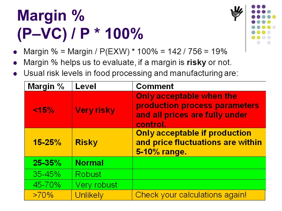 37 Margin % (P–VC) / P * 100% Margin % = Margin / P(EXW) * 100% = 142 / 756 = 19% Margin % helps us to evaluate, if a margin is risky or not. Usual ri