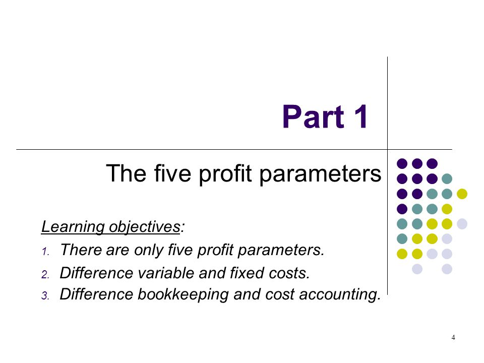 4 Part 1 The five profit parameters Learning objectives: 1. There are only five profit parameters. 2. Difference variable and fixed costs. 3. Differen