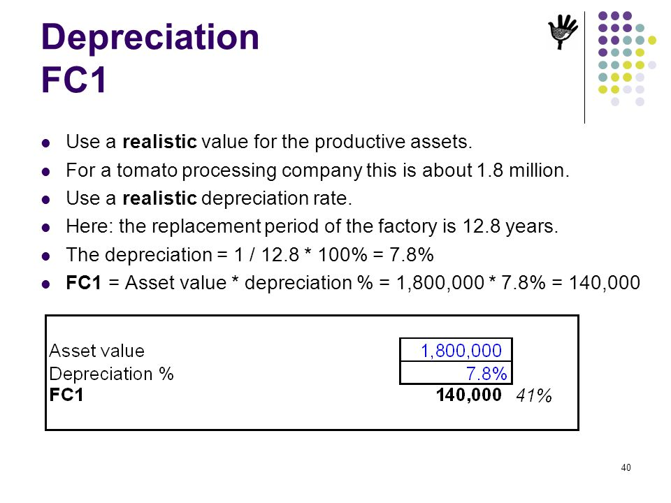40 Depreciation FC1 Use a realistic value for the productive assets. For a tomato processing company this is about 1.8 million. Use a realistic deprec