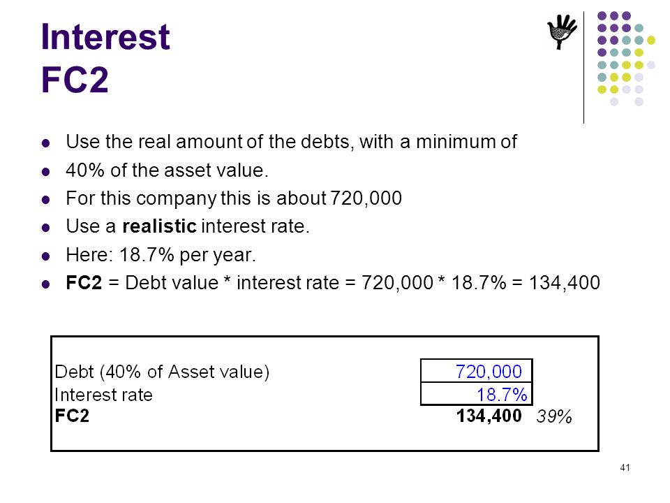 41 Interest FC2 Use the real amount of the debts, with a minimum of 40% of the asset value. For this company this is about 720,000 Use a realistic int