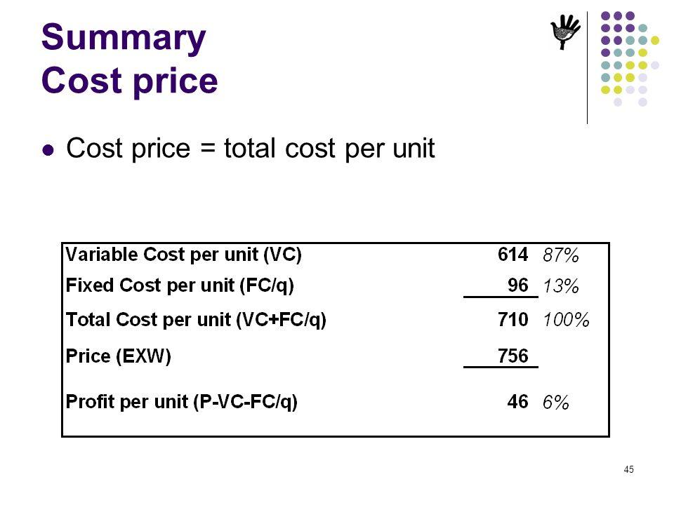 45 Summary Cost price Cost price = total cost per unit