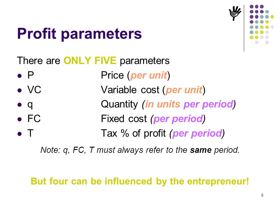 6 Profit parameters There are ONLY FIVE parameters PPrice (per unit) VCVariable cost (per unit) qQuantity (in units per period) FCFixed cost (per peri