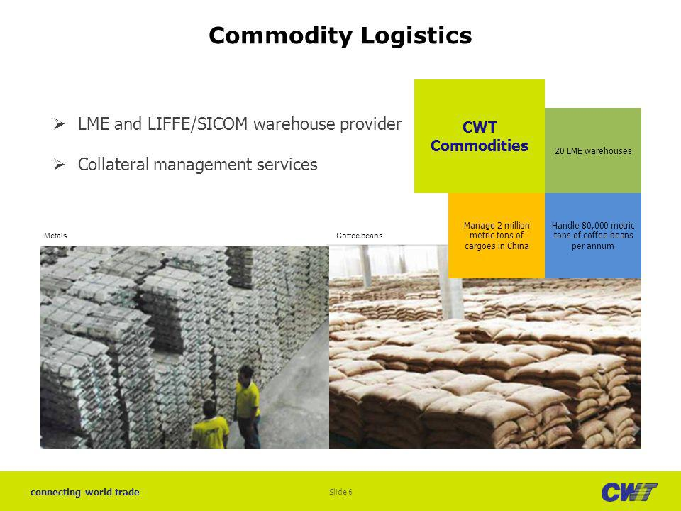 connecting world trade Commodity Logistics CWT Commodities Handle 80,000 metric tons of coffee beans per annum Manage 2 million metric tons of cargoes