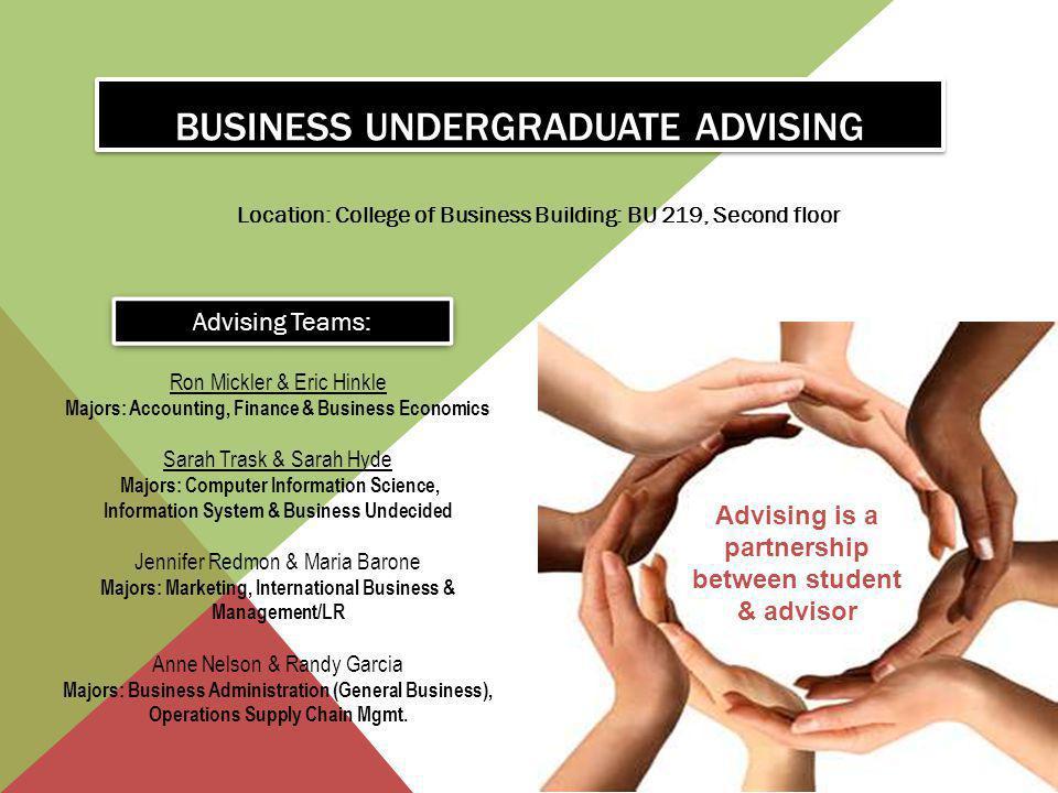BUSINESS UNDERGRADUATE ADVISING Location: College of Business Building: BU 219, Second floor Advising is a partnership between student & advisor Advis