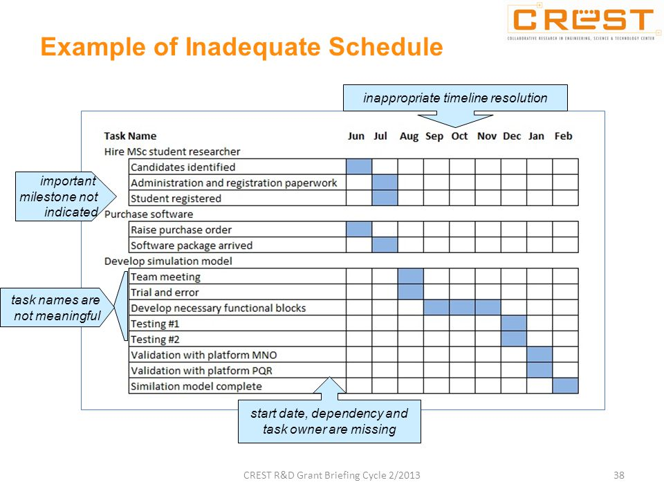 Example of Inadequate Schedule task names are not meaningful important milestone not indicated inappropriate timeline resolution start date, dependency and task owner are missing 38CREST R&D Grant Briefing Cycle 2/2013