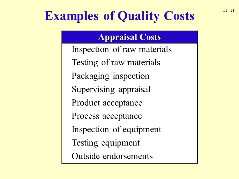 11 -11 Examples of Quality Costs Appraisal Costs Inspection of raw materials Testing of raw materials Packaging inspection Supervising appraisal Produ