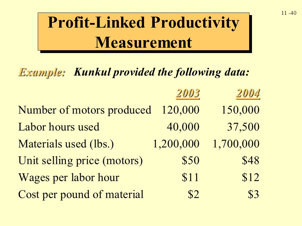 11 -40 Example: Example: Kunkul provided the following data: 20032004 Number of motors produced120,000150,000 Labor hours used40,00037,500 Materials u