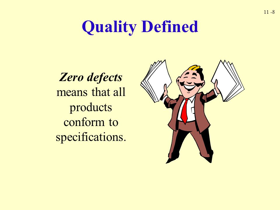 11 -8 Quality Defined Zero defects means that all products conform to specifications.