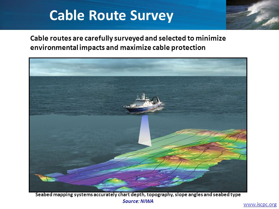 www.iscpc.org Cable Route Survey Cable routes are carefully surveyed and selected to minimize environmental impacts and maximize cable protection Seab