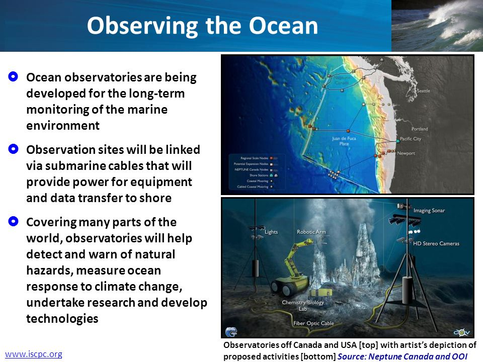 Observing the Ocean Ocean observatories are being developed for the long-term monitoring of the marine environment Observation sites will be linked vi