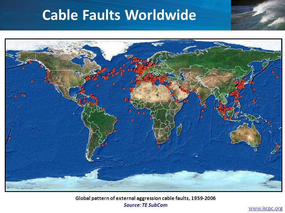 www.iscpc.org Global pattern of external aggression cable faults, 1959-2006 Source: TE SubCom Cable Faults Worldwide