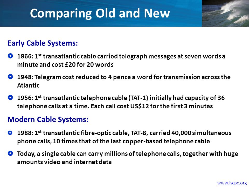 www.iscpc.org Early Cable Systems: 1866: 1 st transatlantic cable carried telegraph messages at seven words a minute and cost £20 for 20 words 1948: Telegram cost reduced to 4 pence a word for transmission across the Atlantic 1956: 1 st transatlantic telephone cable (TAT-1) initially had capacity of 36 telephone calls at a time.