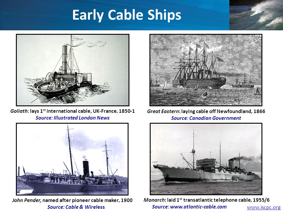 www.iscpc.org Goliath: lays 1 st international cable, UK-France, 1850-1 Source: Illustrated London News John Pender, named after pioneer cable maker,