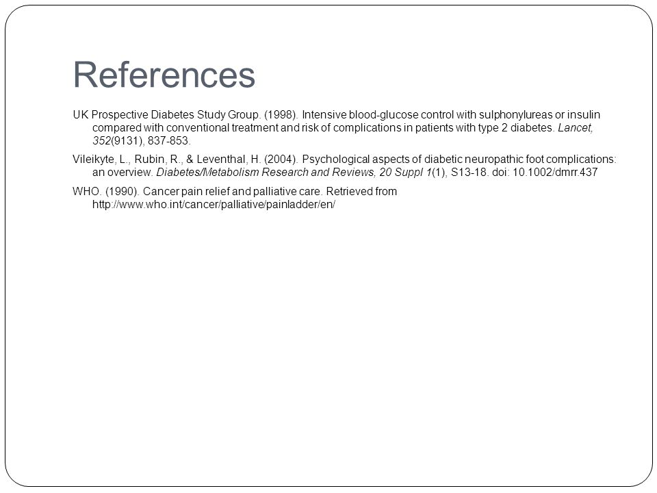References UK Prospective Diabetes Study Group. (1998).