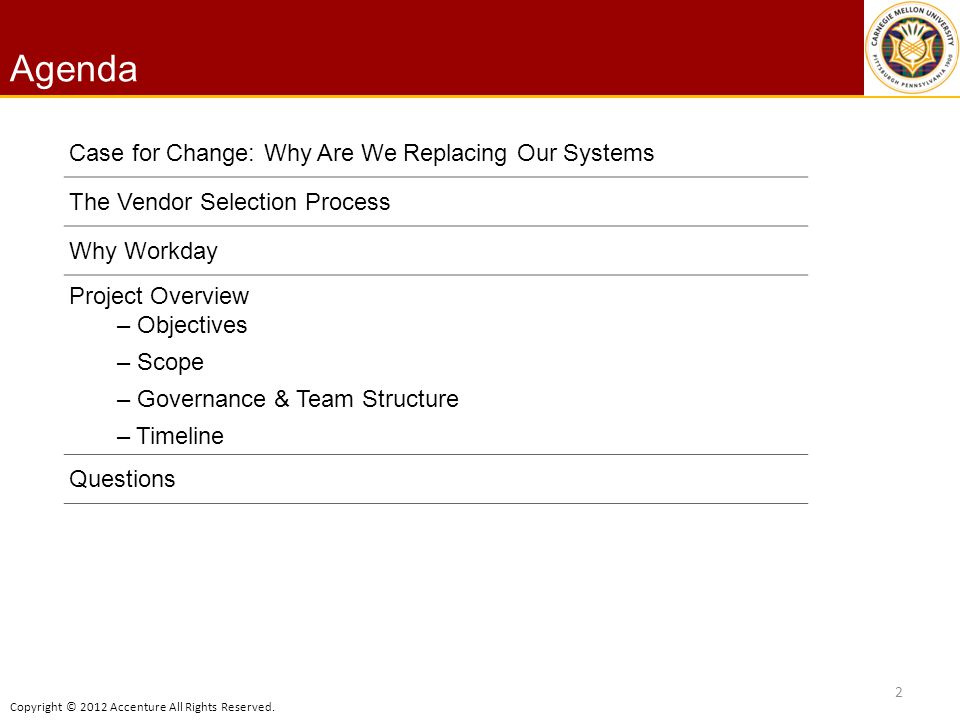 Copyright © 2012 Accenture All Rights Reserved. Agenda 2 Case for Change: Why Are We Replacing Our Systems The Vendor Selection Process Why Workday Pr