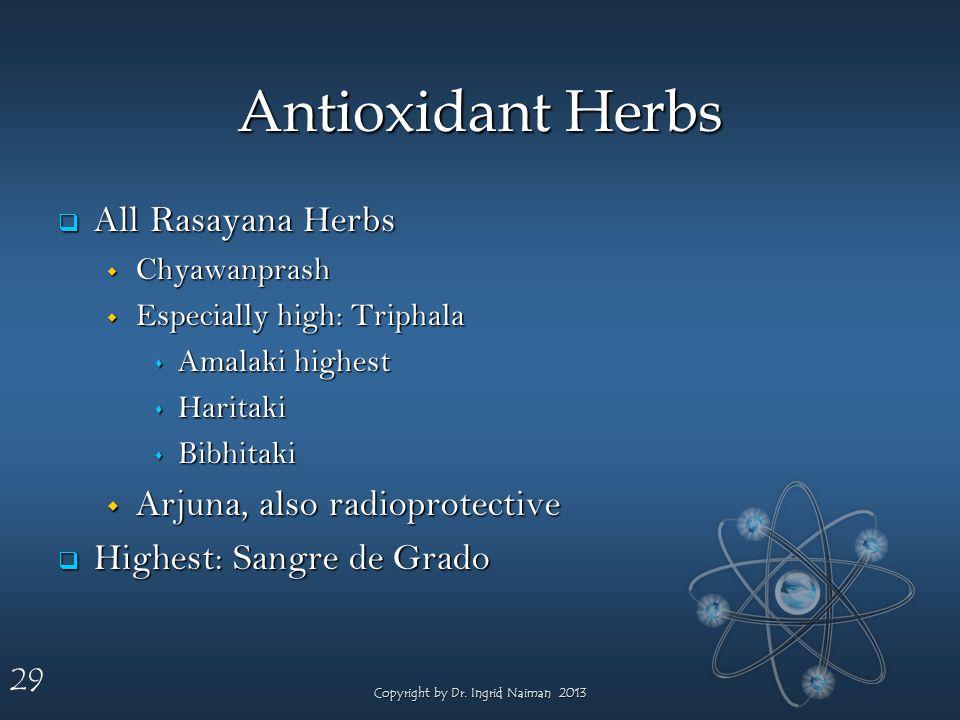 29 Antioxidant Herbs All Rasayana Herbs All Rasayana Herbs Chyawanprash Chyawanprash Especially high: Triphala Especially high: Triphala Amalaki highest Amalaki highest Haritaki Haritaki Bibhitaki Bibhitaki Arjuna, also radioprotective Arjuna, also radioprotective Highest: Sangre de Grado Highest: Sangre de Grado Copyright by Dr.