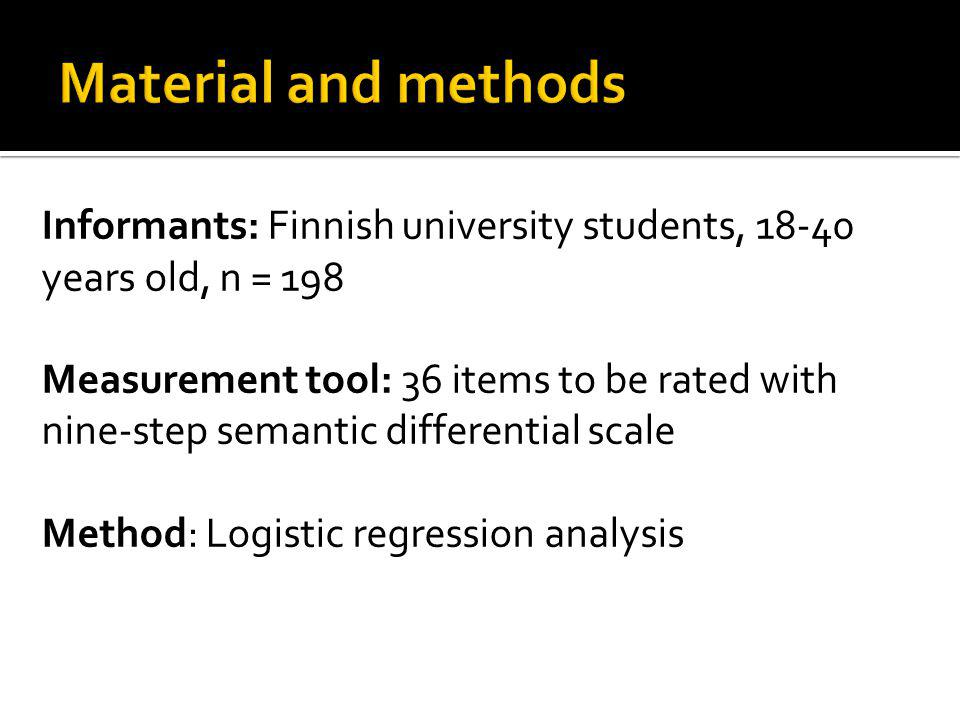 Informants: Finnish university students, 18-40 years old, n = 198 Measurement tool: 36 items to be rated with nine-step semantic differential scale Me