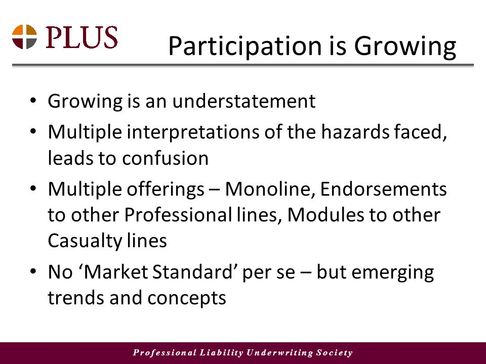 Professional Liability Underwriting Society Participation is Growing Growing is an understatement Multiple interpretations of the hazards faced, leads to confusion Multiple offerings – Monoline, Endorsements to other Professional lines, Modules to other Casualty lines No Market Standard per se – but emerging trends and concepts