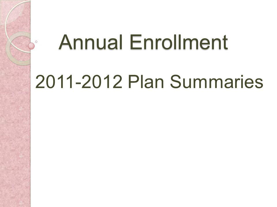 Annual Enrollment 2011-2012 Plan Summaries