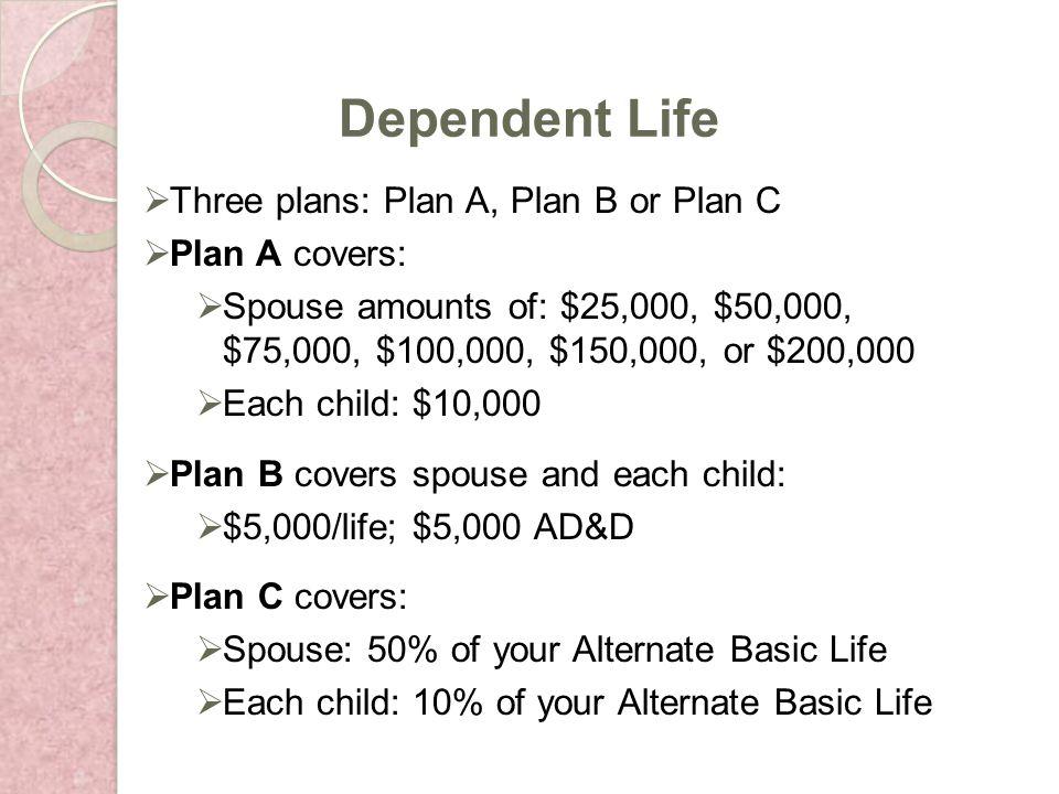 Three plans: Plan A, Plan B or Plan C Plan A covers: Spouse amounts of: $25,000, $50,000, $75,000, $100,000, $150,000, or $200,000 Each child: $10,000 Plan B covers spouse and each child: $5,000/life; $5,000 AD&D Plan C covers: Spouse: 50% of your Alternate Basic Life Each child: 10% of your Alternate Basic Life Dependent Life