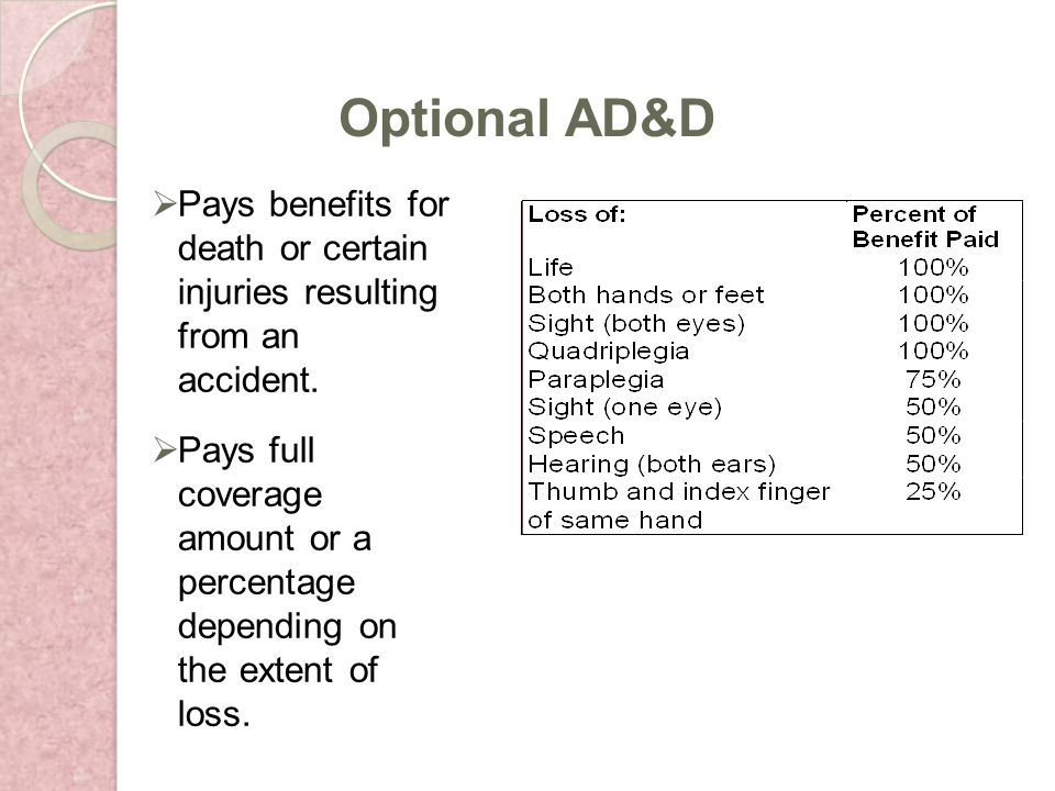 Pays benefits for death or certain injuries resulting from an accident.