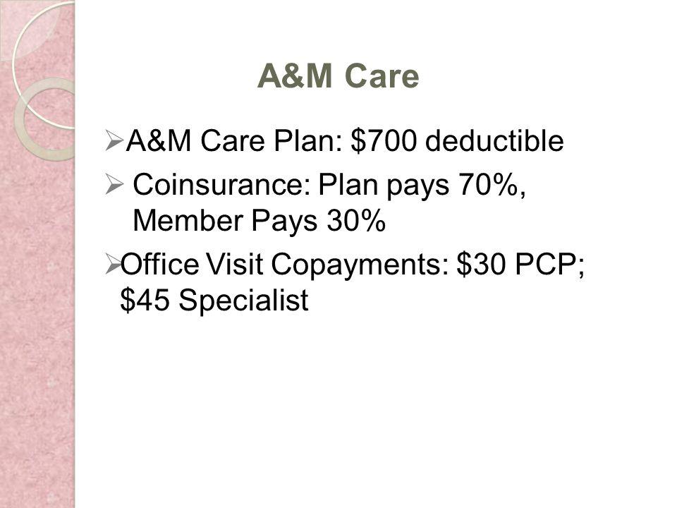 A&M Care Plan: $700 deductible Coinsurance: Plan pays 70%, Member Pays 30% Office Visit Copayments: $30 PCP; $45 Specialist A&M Care