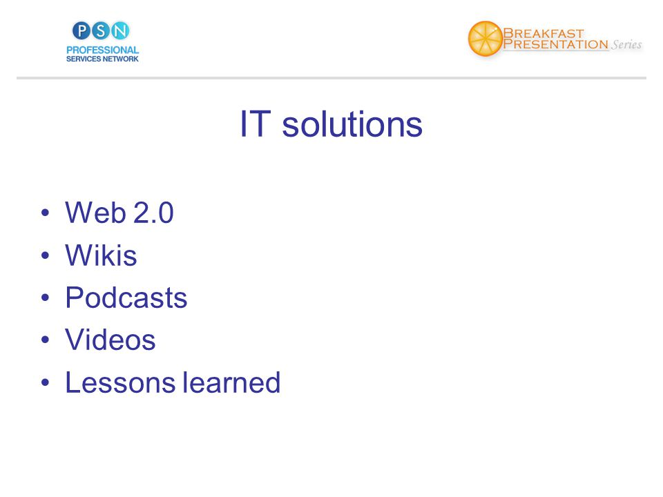 IT solutions Web 2.0 Wikis Podcasts Videos Lessons learned