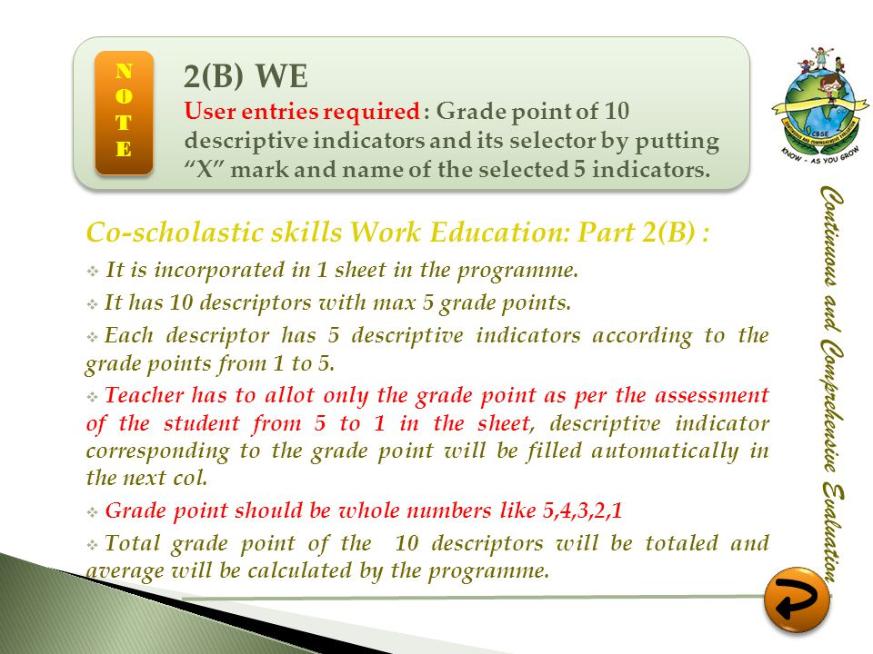 Co-scholastic skills Work Education: Part 2(B) : It is incorporated in 1 sheet in the programme. It has 10 descriptors with max 5 grade points. Each d