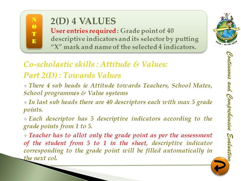 Co-scholastic skills : Attitude & Values: Part 2(D) : Towards Values There 4 sub heads ie Attitude towards Teachers, School Mates, School programmes &