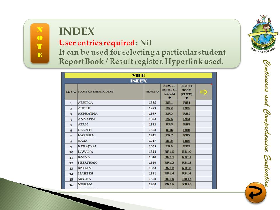 Continuous and Comprehensive Evaluation INDEX User entries required : Nil It can be used for selecting a particular student Report Book / Result regis