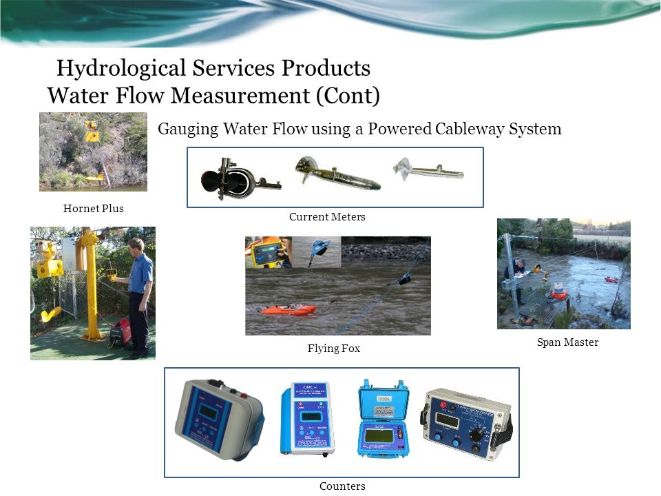 Hydrological Services Products Water Flow Measurement (Cont) Gauging Water Flow using a Powered Cableway System Counters Current Meters Hornet Plus Sp