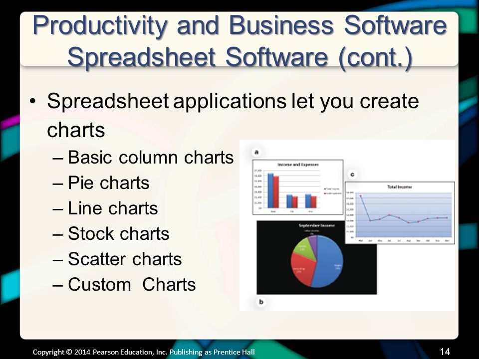 Productivity and Business Software Spreadsheet Software (cont.) Spreadsheet applications let you create charts –Basic column charts –Pie charts –Line