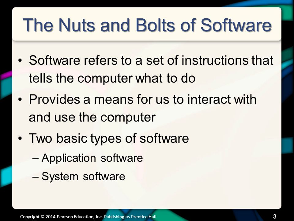 3 The Nuts and Bolts of Software Software refers to a set of instructions that tells the computer what to do Provides a means for us to interact with