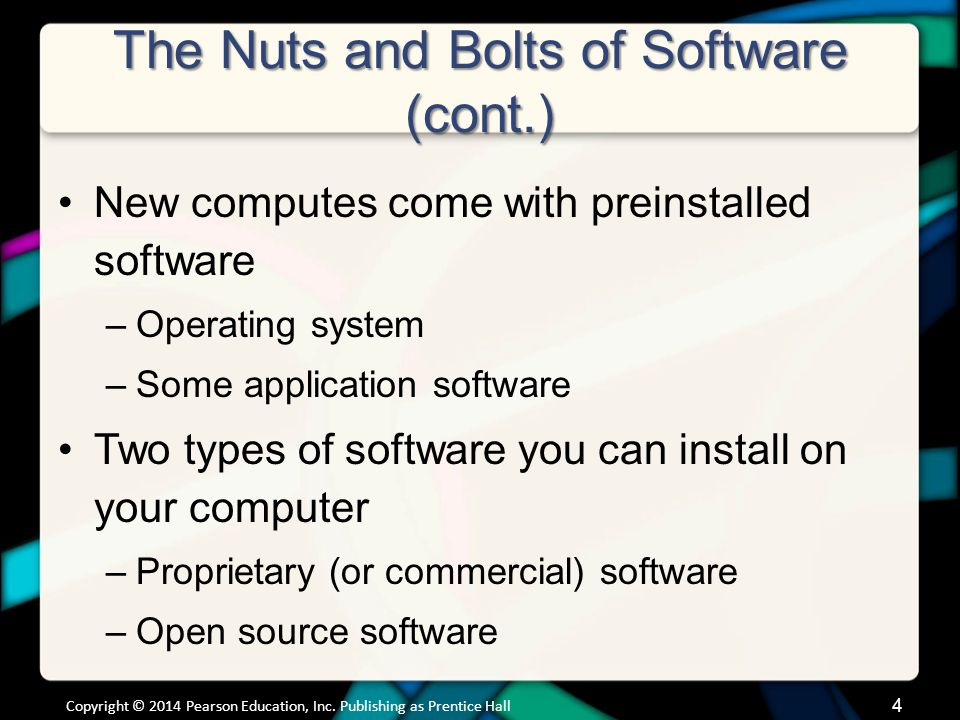 The Nuts and Bolts of Software (cont.) New computes come with preinstalled software –Operating system –Some application software Two types of software