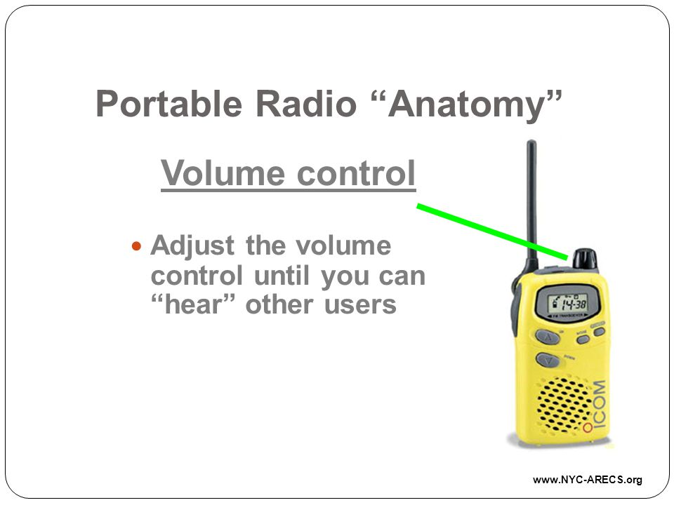 Portable Radio Anatomy Volume control Adjust the volume control until you can hear other users www.NYC-ARECS.org
