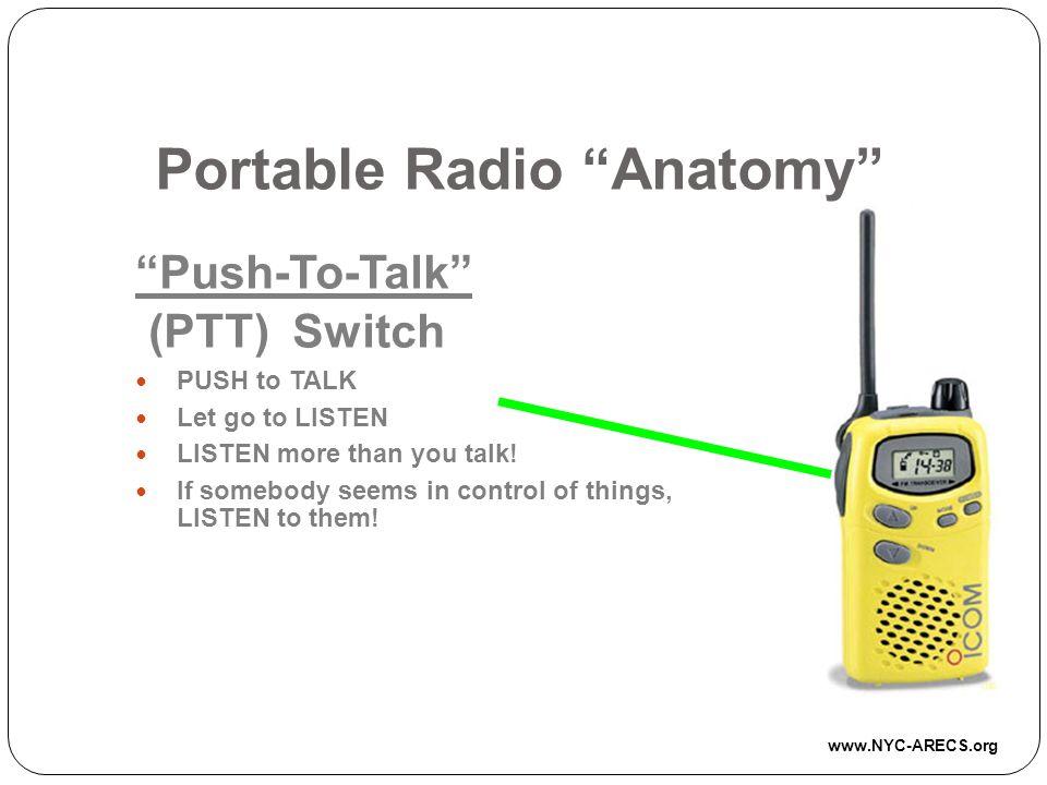 Portable Radio Anatomy Push-To-Talk (PTT) Switch PUSH to TALK Let go to LISTEN LISTEN more than you talk.